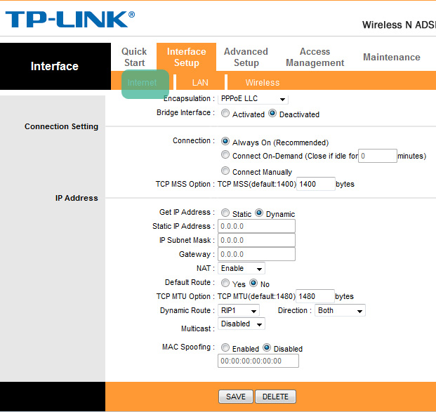 TP-LINK Wireless ADSL2 Modem Router configuration for Internet Settings (This is an alternate configuration which also works)