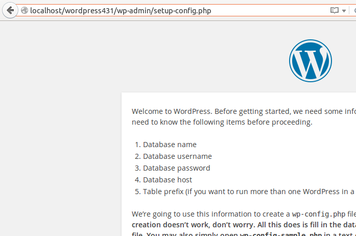 WordPress installation setup Screen in Ubuntu