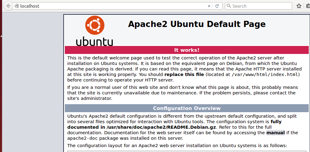 Screenshot of http://localhost in Ubuntu 14.04.03 LTS. Apache should be installed