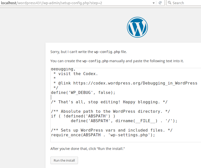 Wordpress cannot write in config.php file