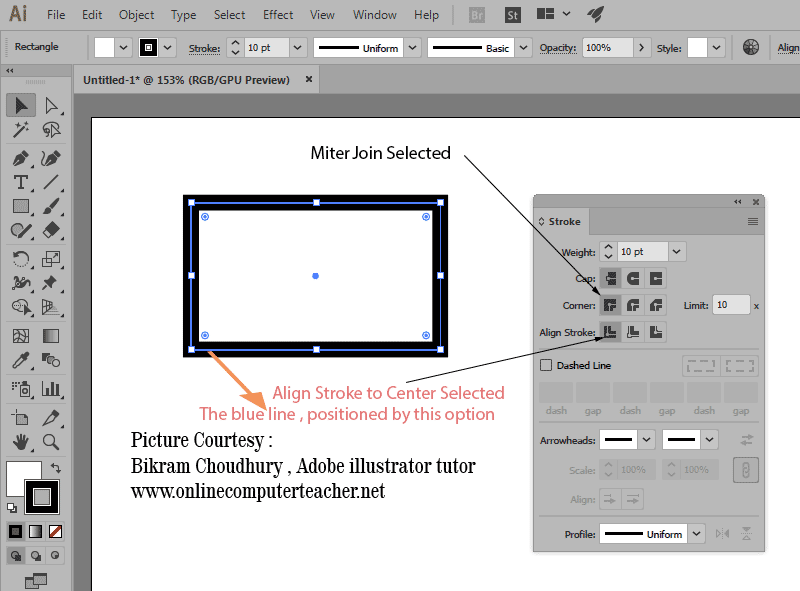 Corner, Align Stroke option in Stroke Panel in Adobe illustrator - onlinecomputerteacher.net
