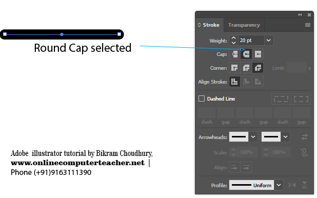 Round Cap in Stroke Panel in Adobe illustrator - onlinecomputerteacher.net