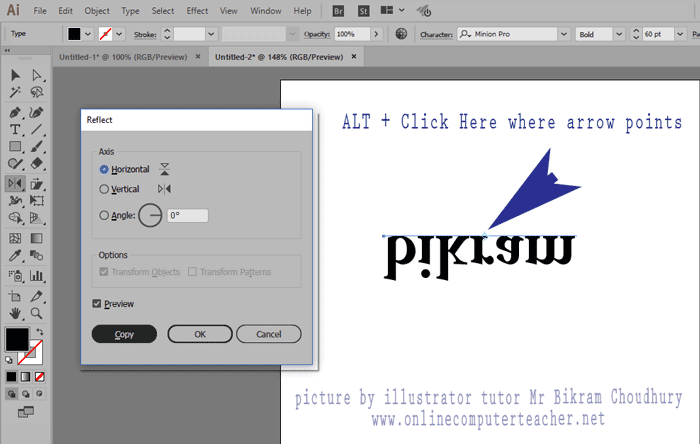 4) ALT + Left Click on text after reflect tool is selected in adobe illustrator