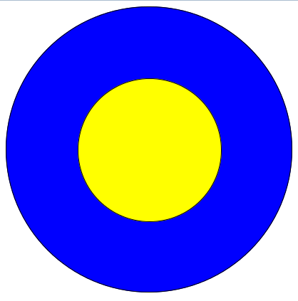 Two concentric circle, one exactly centred within another. Drawn by CSS